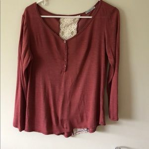 Tops - Pink Long-Sleeve Top & Lace Back
